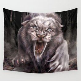 Albino Smilodon (Sabre Tooth Tiger) Wall Tapestry