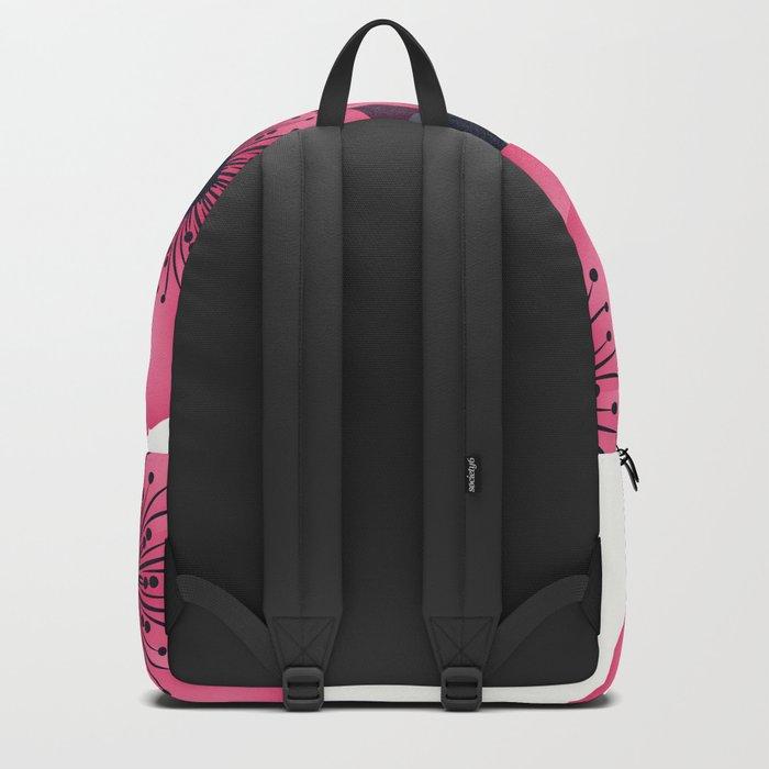 Pink flowers. Backpack