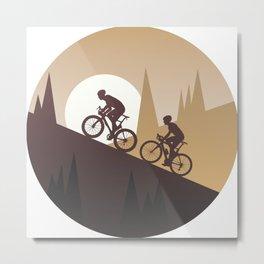 Roadbike Sunset Climbing Metal Print