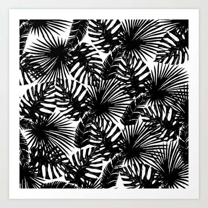Modern Black White Watercolor Tropical Fl Leaves Art Print