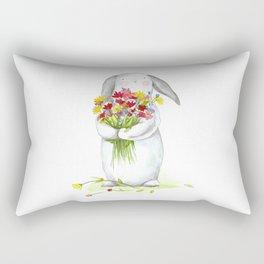Flower Bunny (nursery art, art for children) Rectangular Pillow