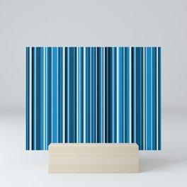 Dark Sea Breeze Variegated Vertical Blue and White Stripes Mini Art Print