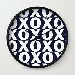 XOXO - Navy Blue Pattern Wall Clock