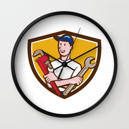 Handyman Spanner Monkey Wrench Crest Cartoon Wall Clock