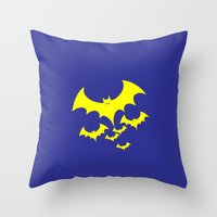 bat Throw Pillows featuring Bat by Spooky Dooky
