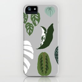 Leaves composition 2 gray background iPhone Case