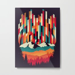 Sunset in Vertical Multicolor Metal Print