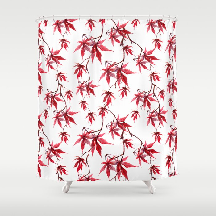 Watercolor Botanical Red Japanese Maple Leaves on Solid White Background Shower Curtain