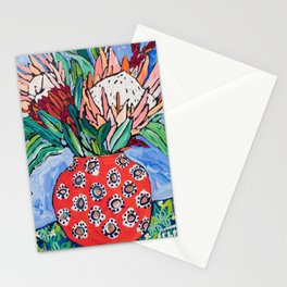 Protea Bouquet in Red Bulb vase on Ultramarine Blue Floral Still Life Painting Stationery Cards