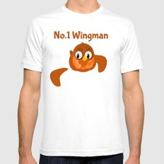 No.1 Wingman | Broken Wing White SMALL Mens Fitted Tee