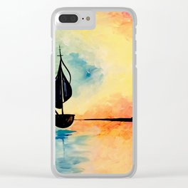 sea boating painting Clear iPhone Case