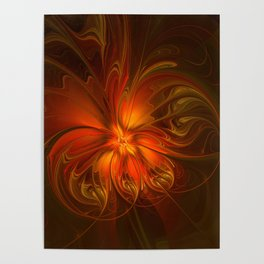 Burning, Abstract Fractal Art With Warmth Poster