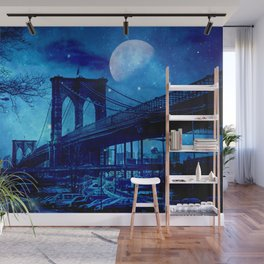 Full Moon Over Brooklyn Bridge Wall Mural