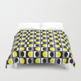 Geometric Pattern 216 (yellow gray curves) Duvet Cover