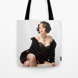 """Fur Coat #1"" - The Playful Pinup - Sexy Vintage Pinup in Fur Coat by Maxwell H. Johnson Tote Bag"
