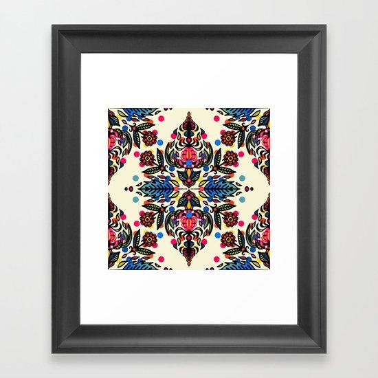 Bright Folk Art Pattern - hot pink, orange, blue & green Framed Art Print