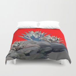 DECORATIVE  RED GREY DESERT AGAVE CACTUS Duvet Cover