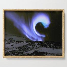 Aurora Borealis Mountains Periwinkle Lavender Serving Tray