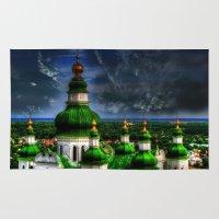 ukraine Area & Throw Rugs featuring Domes of Trinity Cathedral, Chernigov, Ukraine by LudaNayvelt