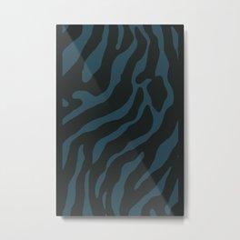 Tiger Skin Pattern Teal Blue Metal Print