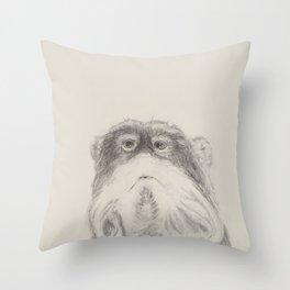 mustache Monkey Throw Pillow
