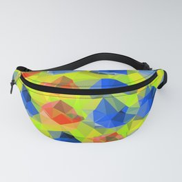 geometric polygon abstract pattern in yellow blue orange Fanny Pack