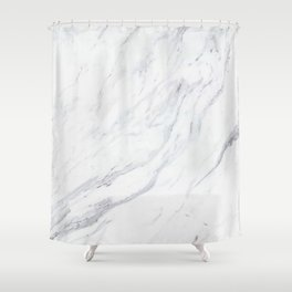 Pure-White-Marble Shower Curtain