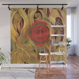 Sun and life portrait by Frida Kahlo Wall Mural