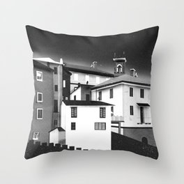 Castles at Night (B&W) Throw Pillow