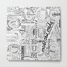 Tag Cloud Black Full Drinks Metal Print