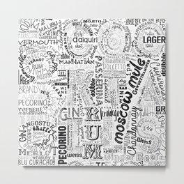 Drinks Full Tag Cloud Metal Print