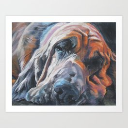 Bloodhound dog portrait Fine Art Dog Painting by L.A.Shepard Art Print