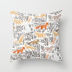 Foxes Field Guide Throw Pillow