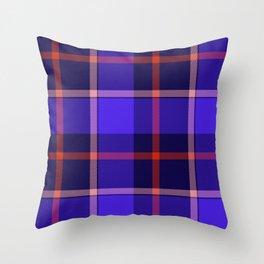 Blue Tartan Print Throw Pillow