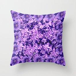 LILAC PURPLE SPRING PHLOX FLOWERS CARPET Throw Pillow
