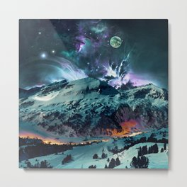 Time in Planet Kepler - Fantasy Mountains and Kepler Planets Painted Effect Metal Print