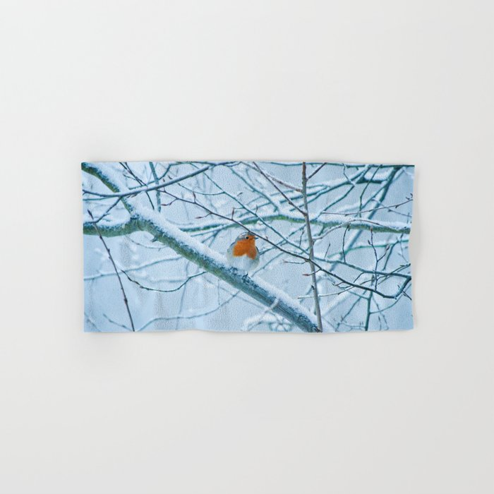 Robin in the cold Hand & Bath Towel