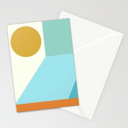 Angles and Shapes in Aqua, Turquoise, Orange, and Gold Stationery Cards