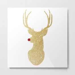 Rudolph The Red-Nosed Reindeer | Gold Glitter Metal Print