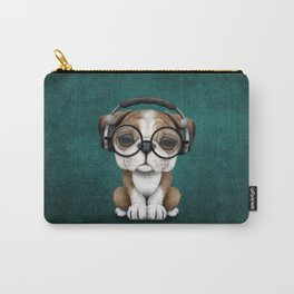 English Bulldog Puppy Dj Wearing Headphones and Glasses on Blue Carry-All Pouch