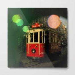 red tram in bubbles Metal Print