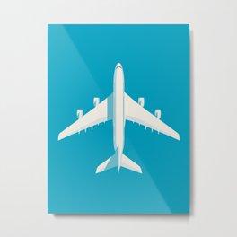 A380 Super Jumbo Jet Airliner - Cyan Metal Print