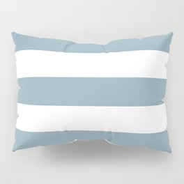 Pewter Blue - solid color - white stripes pattern Pillow Sham