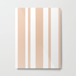 Mixed Vertical Stripes - White and Desert Sand Orange Metal Print