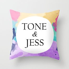 tone and jess Throw Pillow