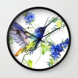 Hummingbird and Deep Blue Flowers Wall Clock
