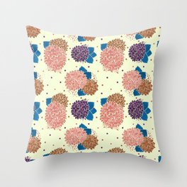 Watercolor coral brown blue hand painted floral polka dots Throw Pillow