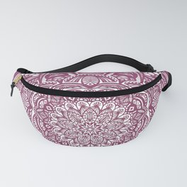 Wine Maroon Ethnic Detailed Textured Mandala Fanny Pack