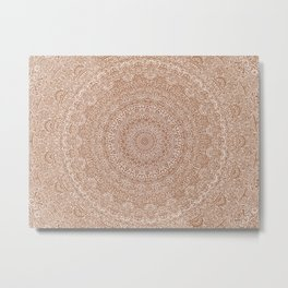 The Most Detailed Intricate Mandala (Brown Tan) Maze Zentangle Hand Drawn Popular Trending Metal Print