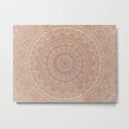 The Most Detailed Intricate Mandala (Brown Tan) Maze Zentangle Hand Drawn Popular Trending Metal Print